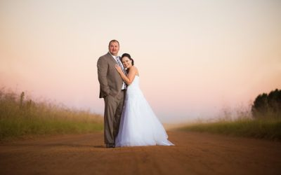 Dirt road bridal couple