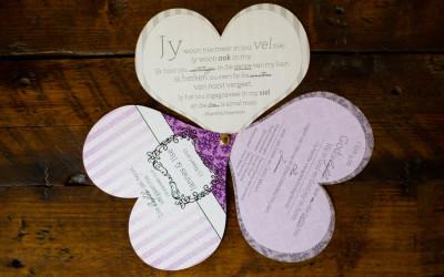 Heart shaped wedding programme